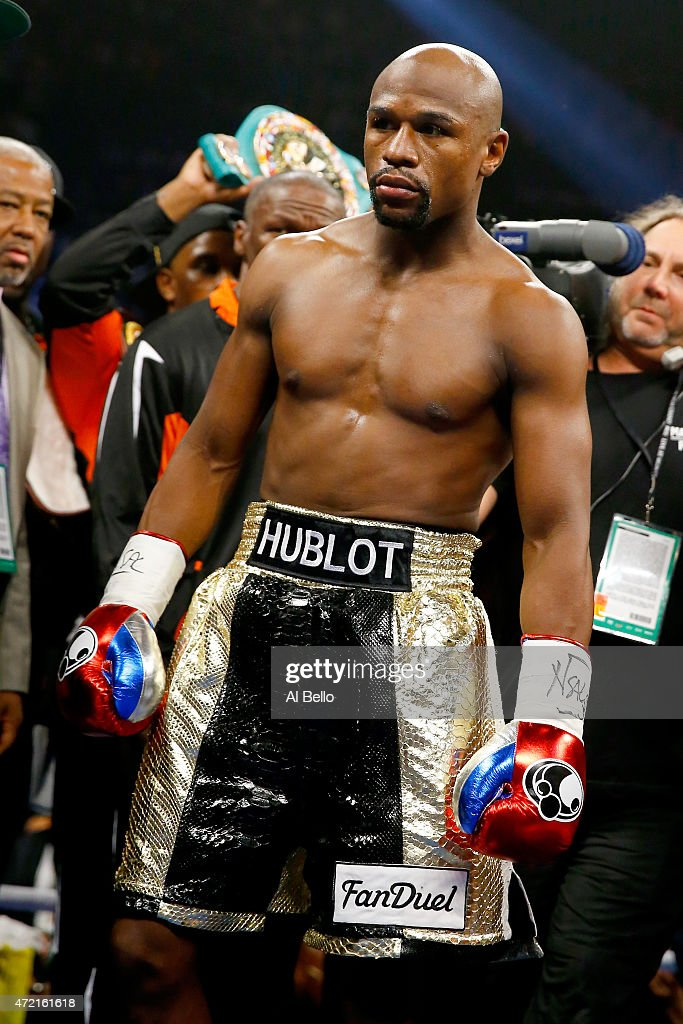 Floyd Mayweather Jr in the ring before taking on Manny Pacquiao in their welterweight unification championship bout on May 2 2015 at MGM Grand Garden...