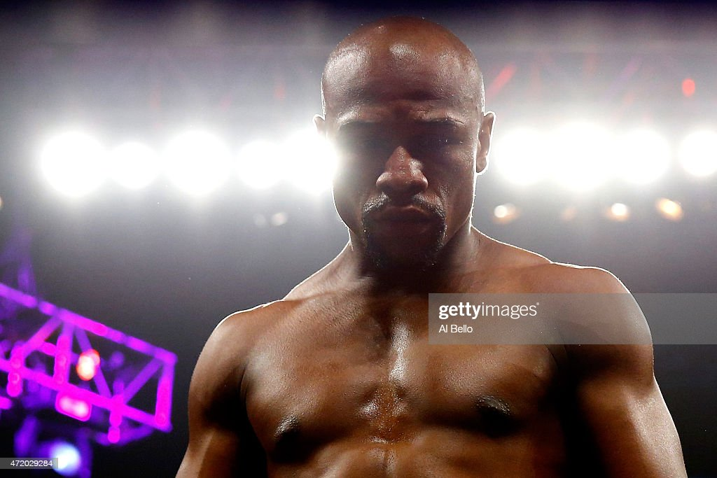 Floyd Mayweather Jr in the ring before the welterweight unification championship bout on May 2 2015 at MGM Grand Garden Arena in Las Vegas Nevada
