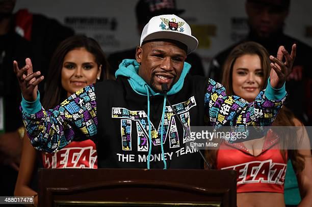 Floyd Mayweather Jr speaks during a postfight news conference at MGM Grand Hotel Casino after he retained his WBC/WBA welterweight titles in a...