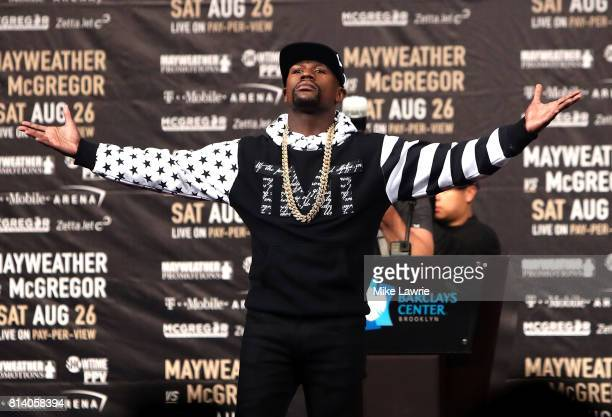 Floyd Mayweather Jr speaks during the Floyd Mayweather Jr v Conor McGregor World Press Tour event at Barclays Center on July 13 2017 in the Brooklyn...