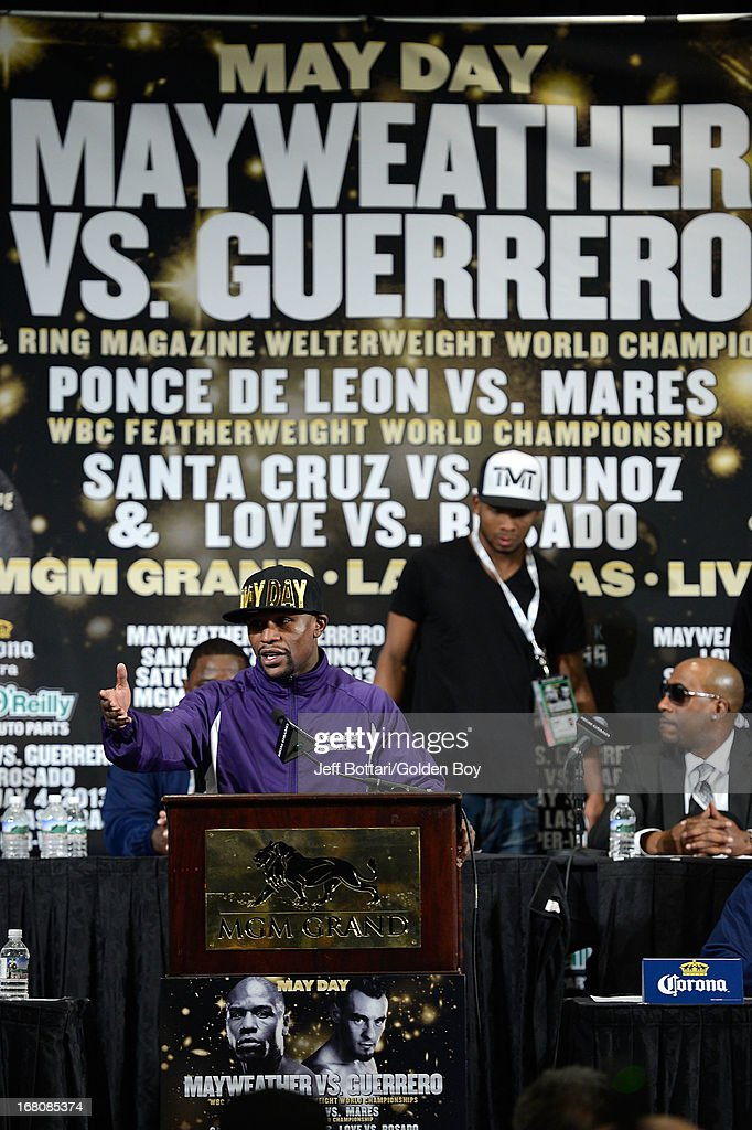 Floyd Mayweather Jr. speaks to the media during the news conference after the Floyd Mayweather Jr. and Robert Guerrero fight at the MGM Grand Garden Arena on May 4, 2013 in Las Vegas, Nevada. Floyd Mayweather Jr. defeated Robert Guerrero to maintain his WBC welterweight title.