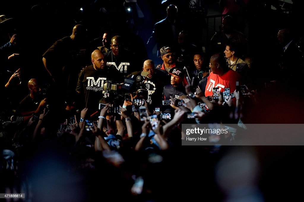 Floyd Mayweather Jr walks to the stage during his official weighin on May 1 2015 at MGM Grand Garden Arena in Las Vegas Nevada Mayweather will face...