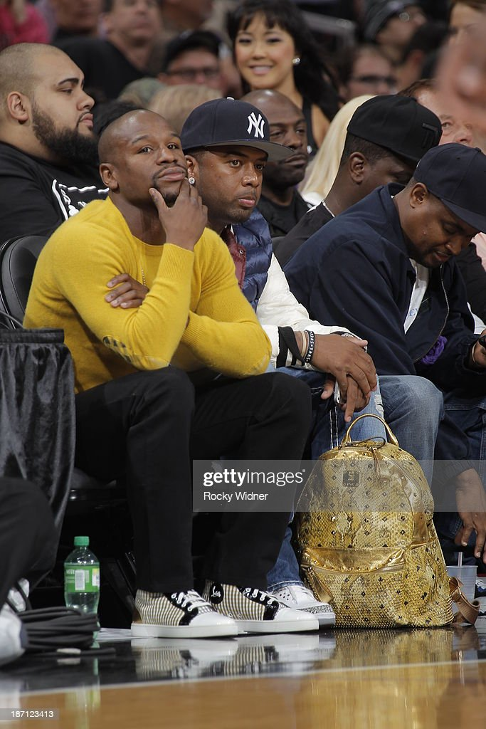 Floyd Mayweather Jr watches the Sacramento Kings take on the Atlanta Hawks at Sleep Train Arena on November 5, 2013 in Sacramento, California.