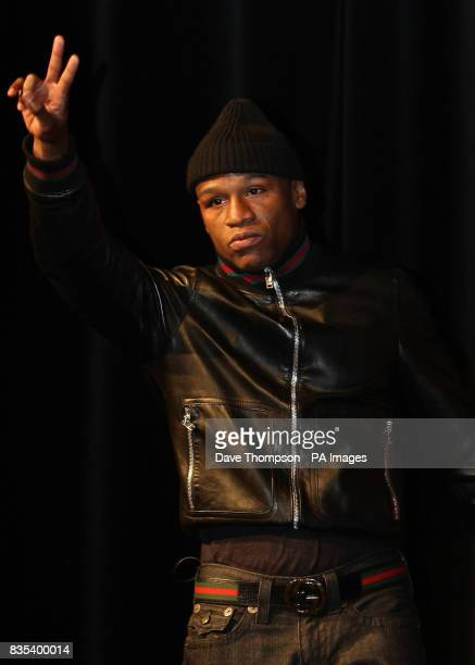 Floyd Mayweather Junior arrives on stage to announce his return to boxing in a fight against Juan Manuel Marquez in Las Vegas in July