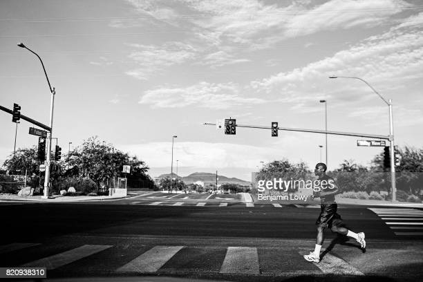 Floyd Mayweather runs near his gym on July 27 in Las Vegas Nevada in preparation for his fight with Saul Alvarez a Mexican boxer known as El Canelo