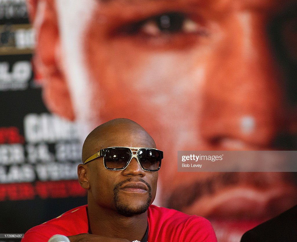 Floyd Mayweather speaks during a press conference to discuss his Super Welterweight World Championship fight against Canelo Alvarez July 1, 2013 at Union Station at Minute Maid Park in Houston, Texas. Floyd Mayweather and Canelo Alvarez are scheduled to fight September 14 at the MGM Grand Garden Arena in Las Vegas, Nevada.