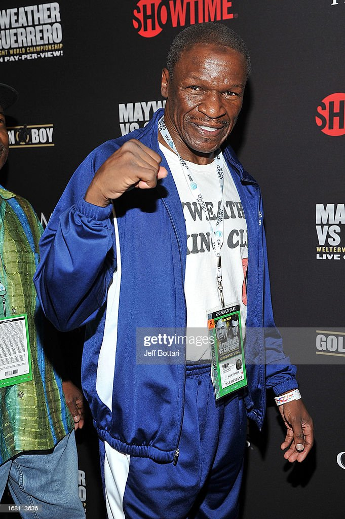 <a gi-track='captionPersonalityLinkClicked' href=/galleries/search?phrase=Floyd+Mayweather+Sr.&family=editorial&specificpeople=653752 ng-click='$event.stopPropagation()'>Floyd Mayweather Sr.</a> arrives at a VIP pre-fight party at the WBC welterweight title fight between Floyd Mayweather Jr. and Robert Guerrero at the MGM Grand Hotel/Casino on May 4, 2013 in Las Vegas, Nevada.