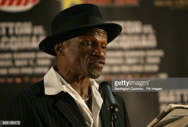 Floyd Mayweather Sr during a promotional press event at the Trafford Centre Great Hall in Manchester