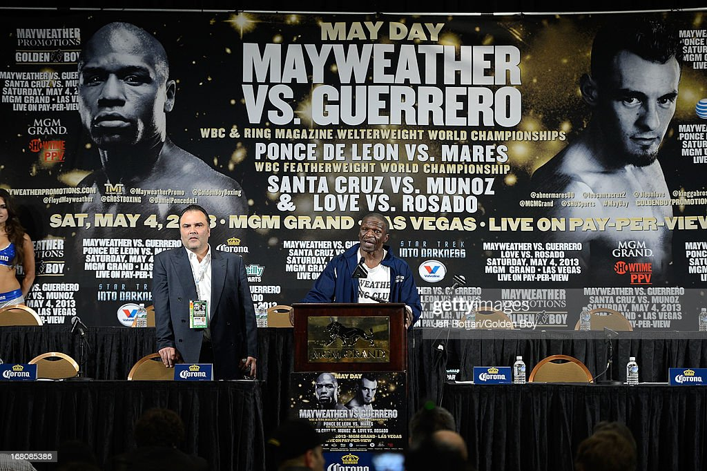 Floyd Mayweather Sr. speaks to the media during the news conference after the Floyd Mayweather Jr. and Robert Guerrero fight at the MGM Grand Garden Arena on May 4, 2013 in Las Vegas, Nevada. Floyd Mayweather Jr. defeated Robert Guerrero to maintain his WBC welterweight title.