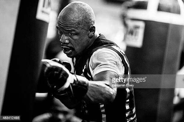 Floyd Mayweather trains at his gym on July 26 in Las Vegas Nevada in preparation for his fight with Saul Alvarez a Mexican boxer known as El Canelo