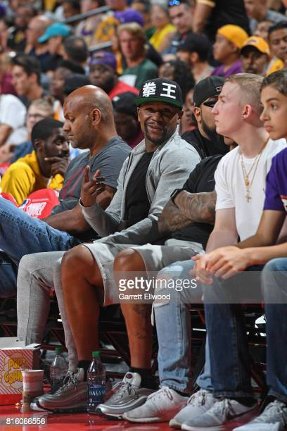 Floyd Mayweather watches the Milwaukee Bucks play the Cleveland Cavaliers on July 7 2017 at the Thomas Mack Center in Las Vegas Nevada NOTE TO USER...