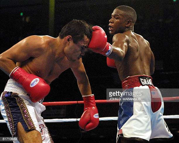 Floyd Mayweather WBC Champion lands a punch on WBC contender Jesus Chavez during the ninth round 10 November 2001 in San Francisco CA Mayweather Jr...