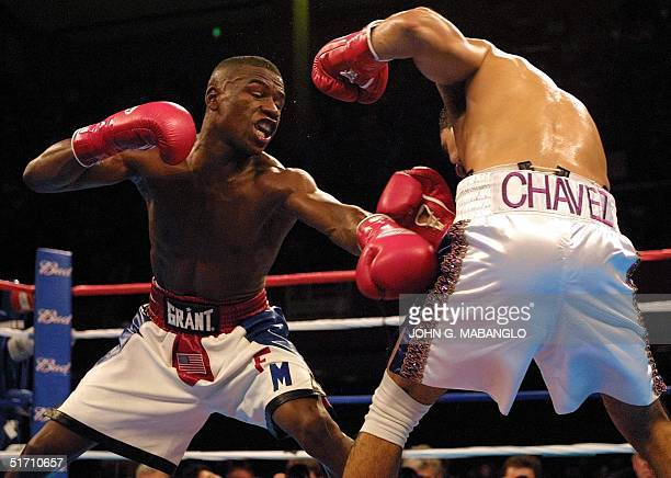Floyd Mayweather WBC Champion tries to land a punch on WBC contender Jesus Chavez during their fight 10 November 2001 in San Francisco CA Mayweather...