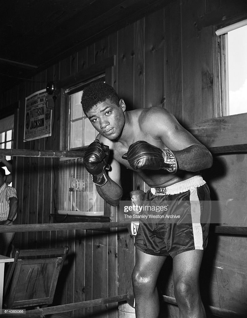 Floyd Patterson poses for a portrait in the ring at his training camp on May 12, 1956 at Greenwood Lake, New York.