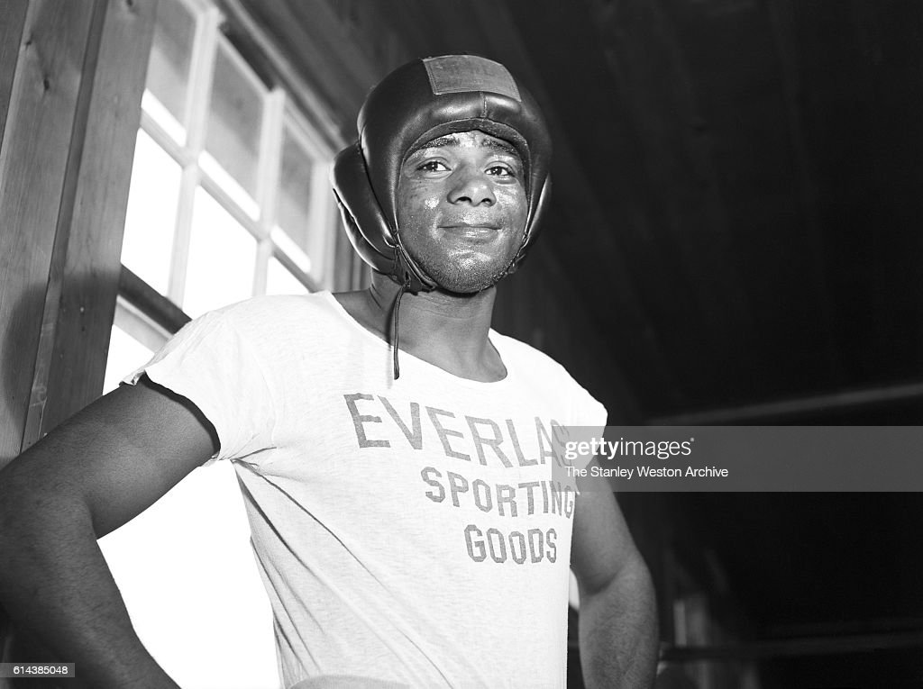 Floyd Patterson poses for the camera after sparring at his training camp on May 12, 1956 at Greenwood Lake, New York.