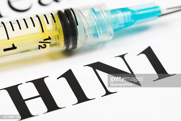 H1N1 Flu Shot, Vaccination close-up (cyan syringe) - II