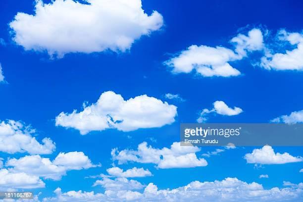 fluffy white clouds in a blue sky
