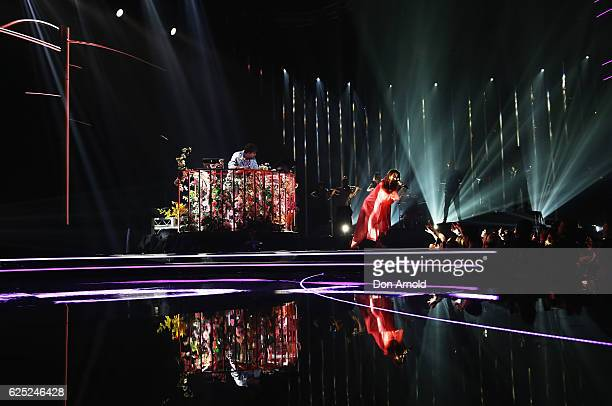 Flume performs alongside Tove Lo and Kai live during the 30th Annual ARIA Awards 2016 at The Star on November 23 2016 in Sydney Australia