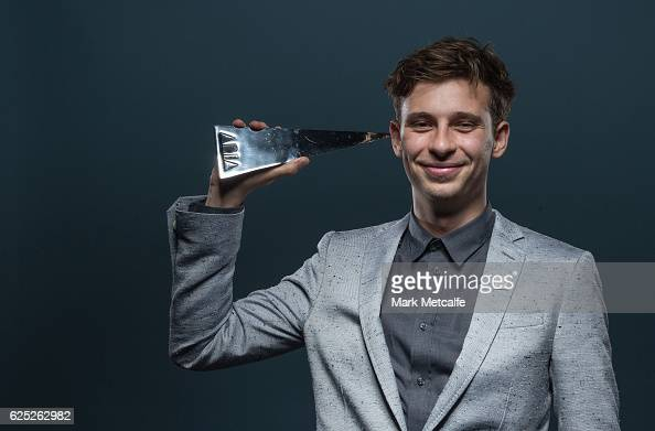 Flume poses for a portrait with an ARIA after winning ARIA awards for Best Independent Release Best Pop Release Best Dance Release Best Male Artist...