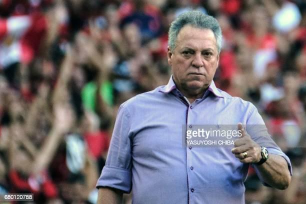 Fluminense's Coach Abel Braga gestures during their Copa Carioca final football match against Flamengo at Maracana stadium in Rio de Janeiro Brazil...
