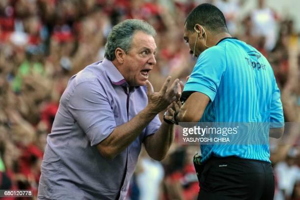 Fluminense's Coach Abel Braga reacts to the judge during their Copa Carioca final football match against Flamengo at Maracana stadium in Rio de...