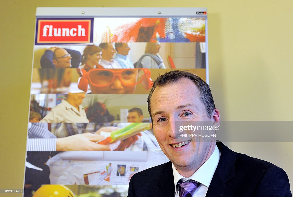 Flunch restaurants group general director Vincent Lemaitre gives a press conference on March 1, 2013 at the group headquarters in Villeneuve-d'Asq. Flunch suspended supplying meat from Castel Viande, after this supplier was investigated for deception on the origin of the meat.