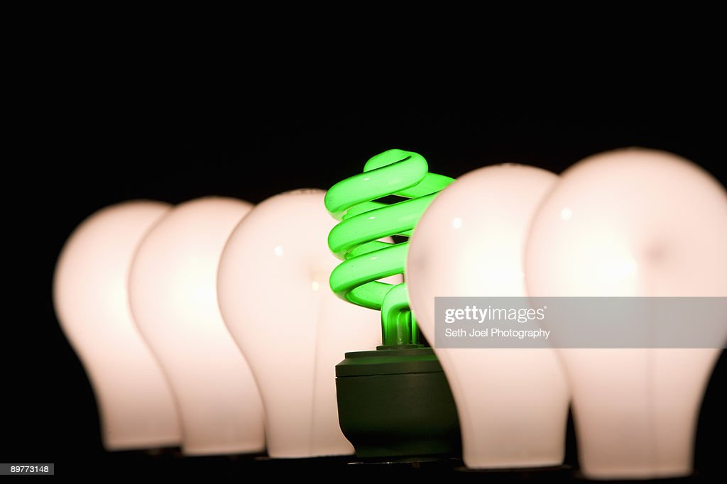 Fluorescent and incandescent light bulbs : Stock Photo