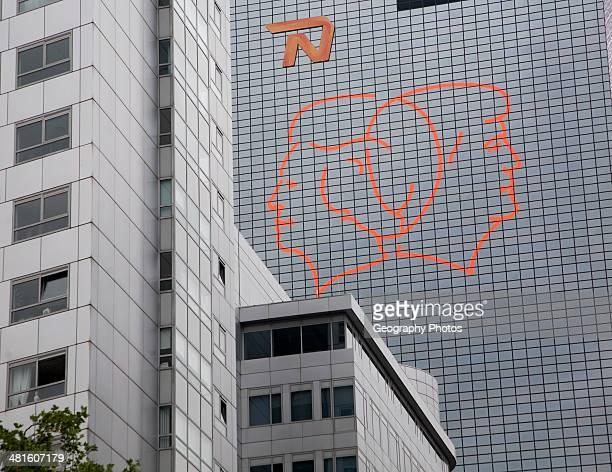Fluorescent line drawing artwork by Gijs van Bon and Thijs Kelder on the Nationale Nederlanden building Rotterdam Netherlands to celebrate the...