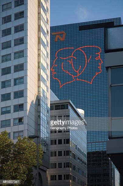 Fluorescent line drawing artwork by Gijs van Bon and Thijs Kelder on the Nationale Nederlanden building Rotterdam Netherlands to celebrate the...