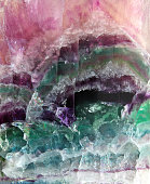Pattern of a sparkling stone of fluorite poured by different colors