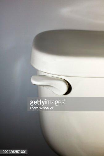 Flush lever on toilet