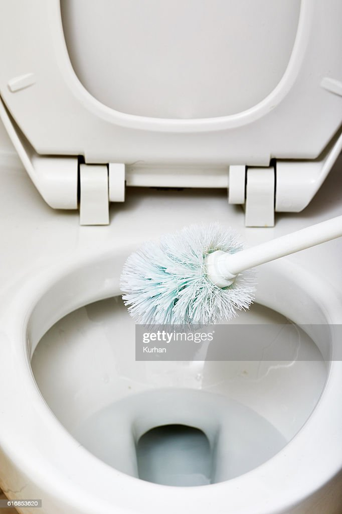 Flush toilet bowl cleaning. : Stock Photo