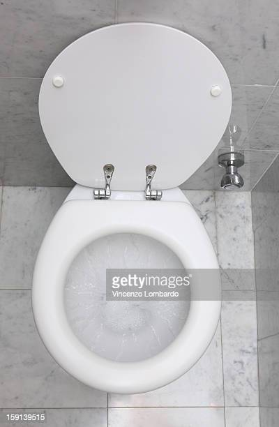 Flushing toilet in a marble tiled cubicle
