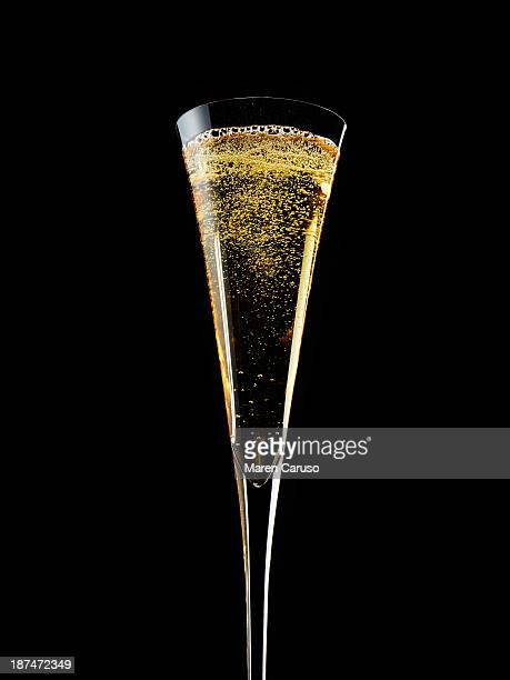 Flute of Champagne in front of Black Background
