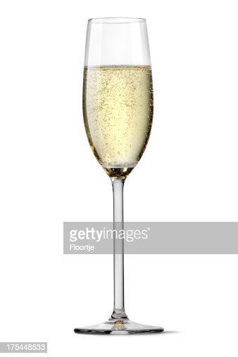 Flute of champagne silhouetted on white background