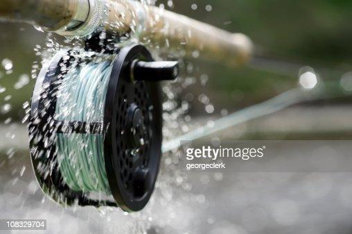 Pesca con la mosca azione : Stock Photo