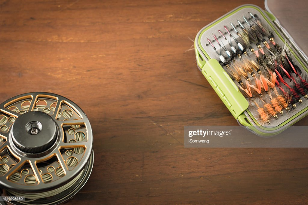 Fly fishing gear : Stock Photo