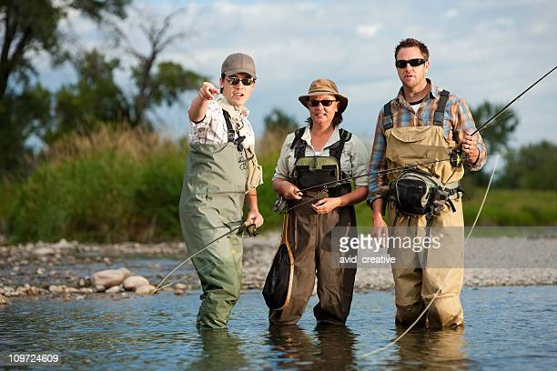 Fly Fishing Guide Teaching Couple