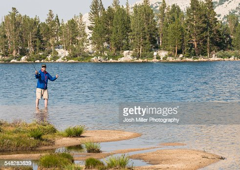 Fly fishing in the high sierra stock photo getty images for Sierra fly fishing
