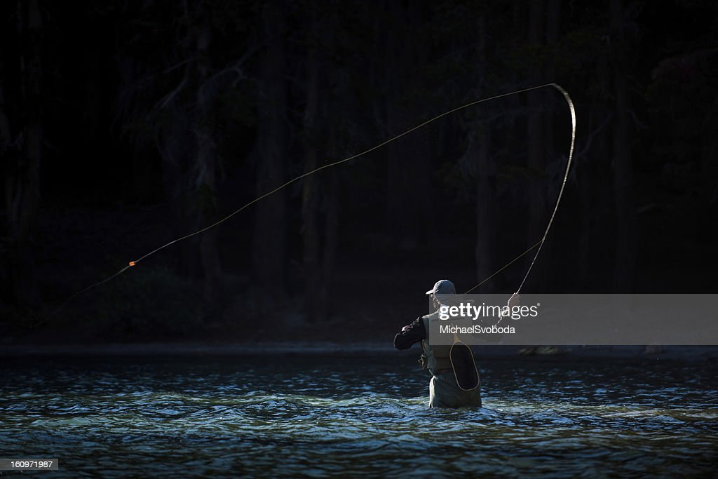Fly Fishing in the River : Stock Photo