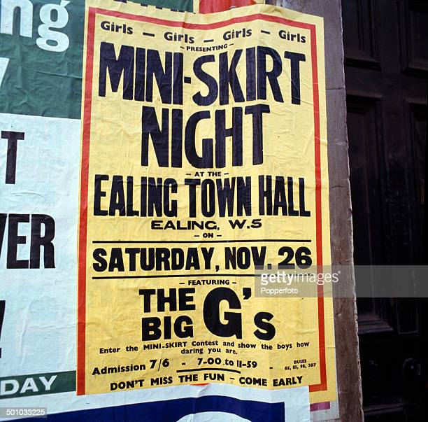 A fly poster advertising a 'miniskirt' dance night at Ealing Town Hall in London in 1967