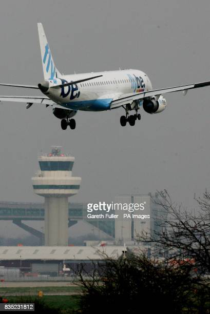 A flybe passenger plane lands at Gatwick Airport in West Sussex as BAA are forced to sell the site and break their monopoly on airport sites across...