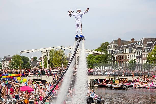 Flyboard show on Amstel river at Magere Brug