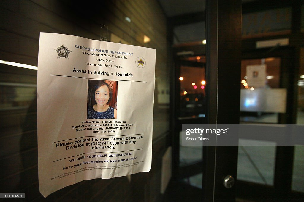 A flyer offering a reward for help in solving the murder of 15-year-old Hadiya Pendleton hangs in the window of Area Central while Chicago Police Superintendant Garry McCarthy holds a press conference to announce arrests have been made n the case on February 11, 2013 in Chicago, Illinois. Suspected gang members Micheail Ward and Kenneth Williams have been charged in the murder. McCarthy said the two thought they were shooting at rival gang members in retaliation for a July 2012 incident when Williams was shot. Hadiya's murder was the 44th murder in Chicago in January.