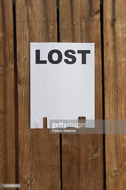A flyer posted on a wooden fence with the word LOST on it