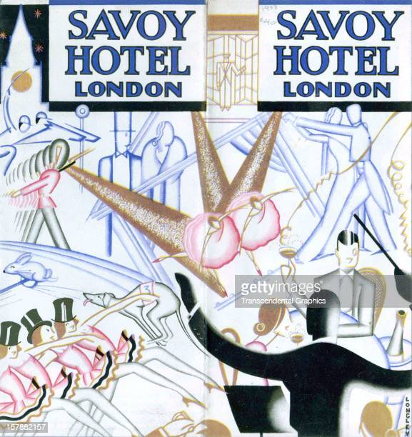 A flyer promoting the Savoy Hotel is produced circa 1935 in London England