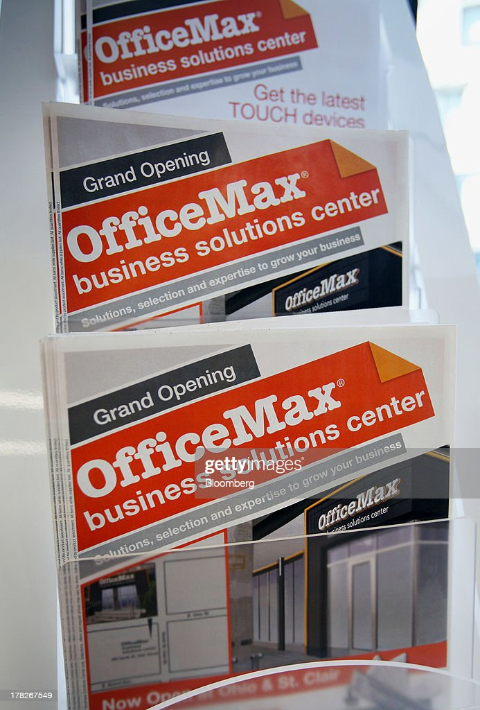 Flyers are displayed inside the new OfficeMax Inc. Business Solutions Center in Chicago, Illinois, U.S., on Tuesday, Aug. 27, 2013. The OfficeMax Business Solutions Center provides local businesses with services including designed marketing, web, document, IT and shipping service. Photographer: Tim Boyle/Bloomberg via Getty Images