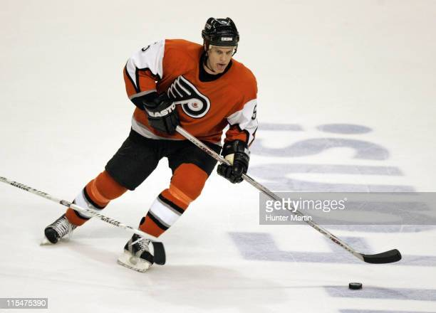 Flyers defenseman Kim Johnsson moves the puck up ice at the Wachovia Center in Philadelphia Pennsylvania on Saturday January 14 2006