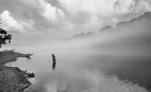 Flyfisherman in the early morning fog