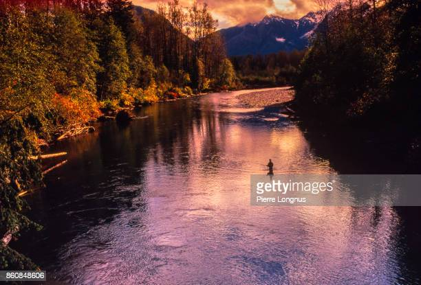 Flyfishing - Non-recognizable fly fisherman salmon fishing in South western British Columbia in one of many creeks and rivers going into Howe Sound between Vancouver and Squamish, British Columbia, Canada